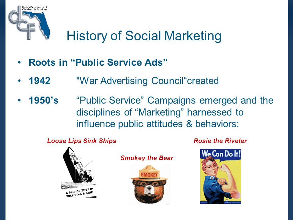 History of Social Marketing Roots in Public Service Ads 1942 War Advertising Councilcreated 1950s Public Service Campaigns emerged and the disciplines of Marketing harnessed to influence public attitudes & behaviors: Loose Lips Sink ShipsRosie the Riveter Smokey the Bear