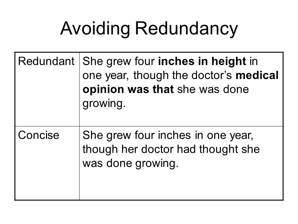 Avoiding Redundancy RedundantShe grew four inches in height in one year, though the doctors medical opinion was that she was done growing.