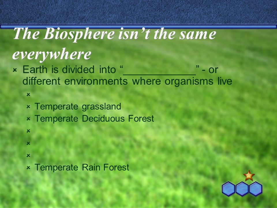 The Biosphere isnt the same everywhere Earth is divided into ____________ - or different environments where organisms live Temperate grassland Tempera