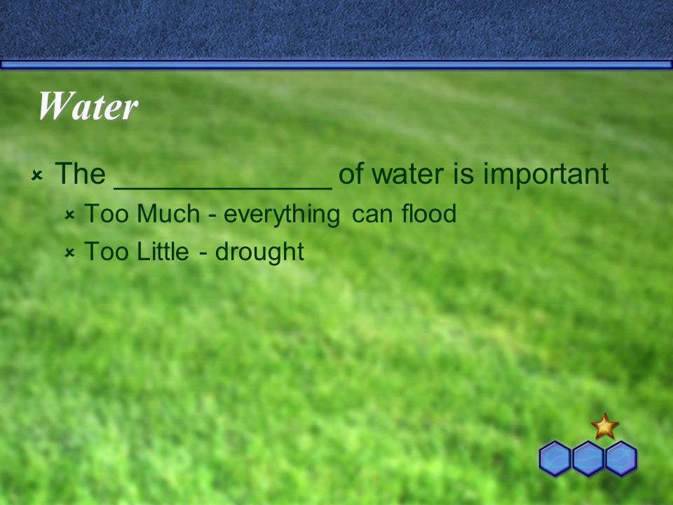 Water The _____________ of water is important Too Much - everything can flood Too Little - drought