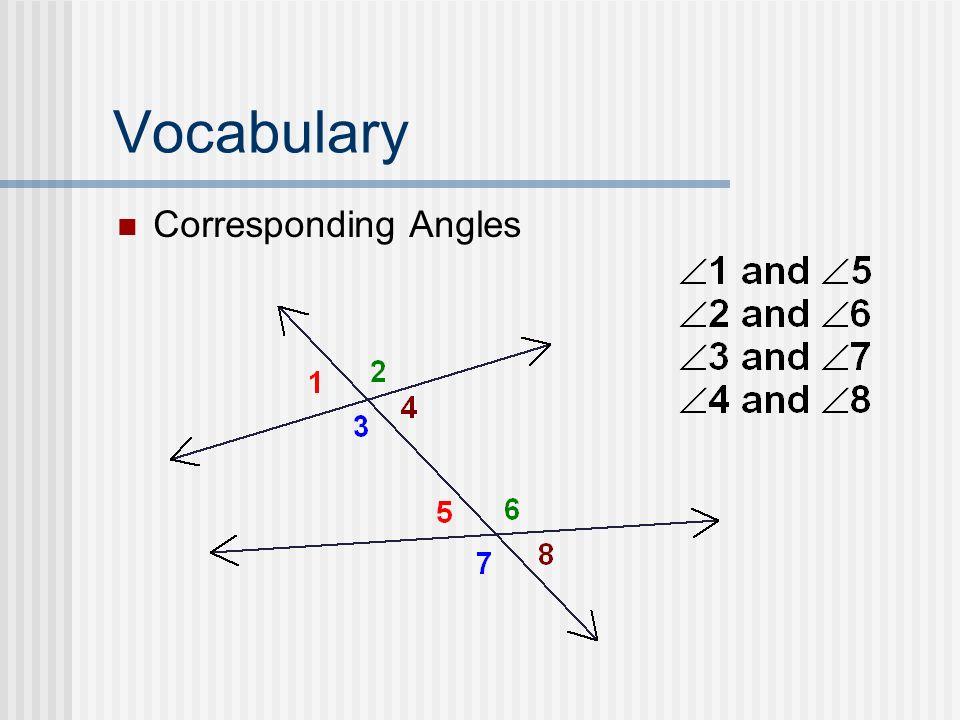 Vocabulary Corresponding Angles