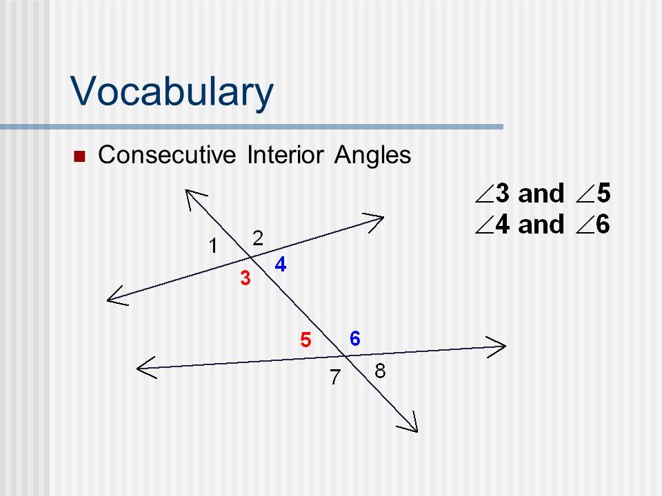 Vocabulary Consecutive Interior Angles