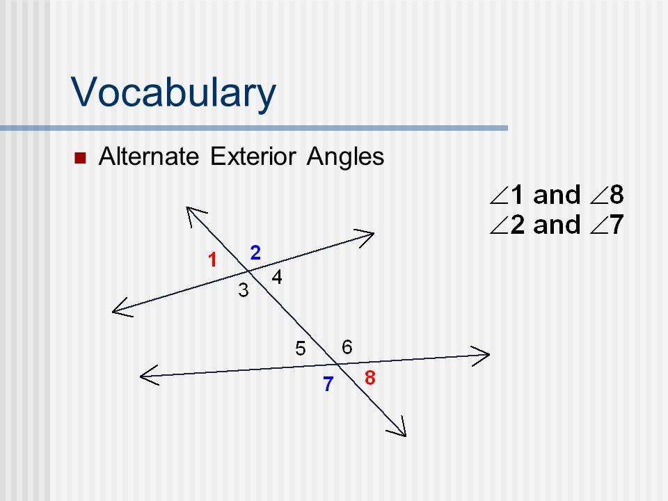 Alternate Interior Angles And Alternate Exterior Angles Vocabulary Alternate Exterior Angles