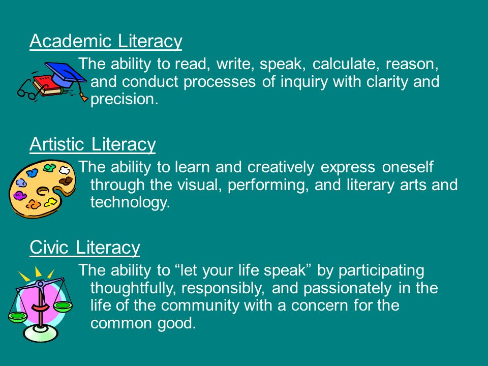 Academic Literacy The ability to read, write, speak, calculate, reason, and conduct processes of inquiry with clarity and precision.