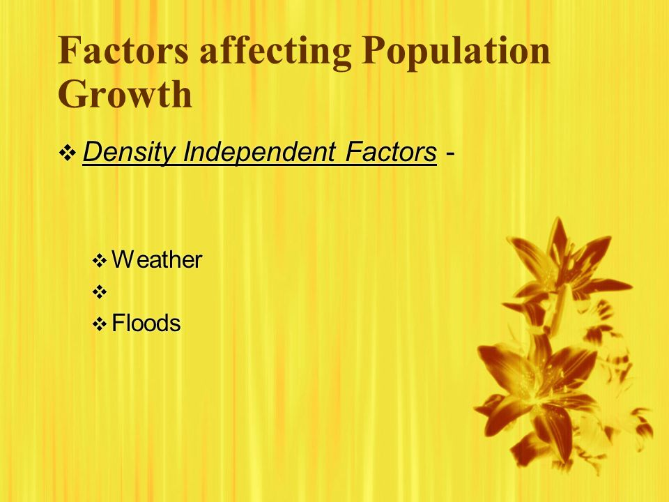 Factors affecting Population Growth Density Independent Factors - Weather Floods Density Independent Factors - Weather Floods