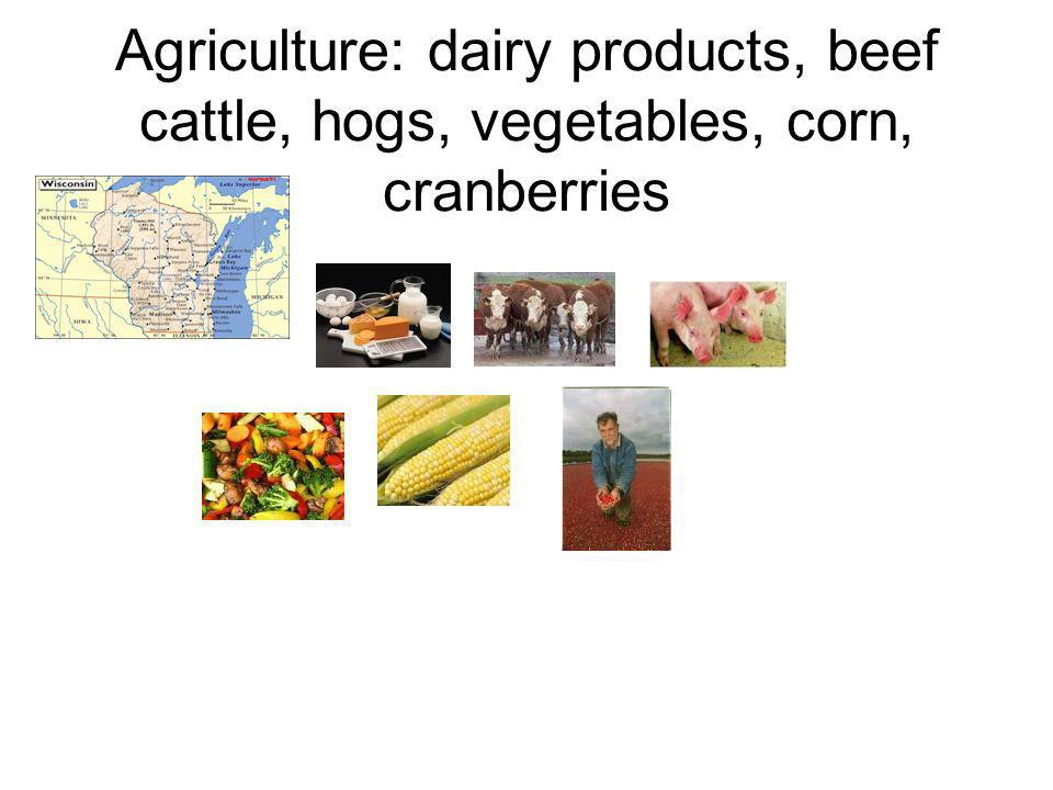 Agriculture: dairy products, beef cattle, hogs, vegetables, corn, cranberries
