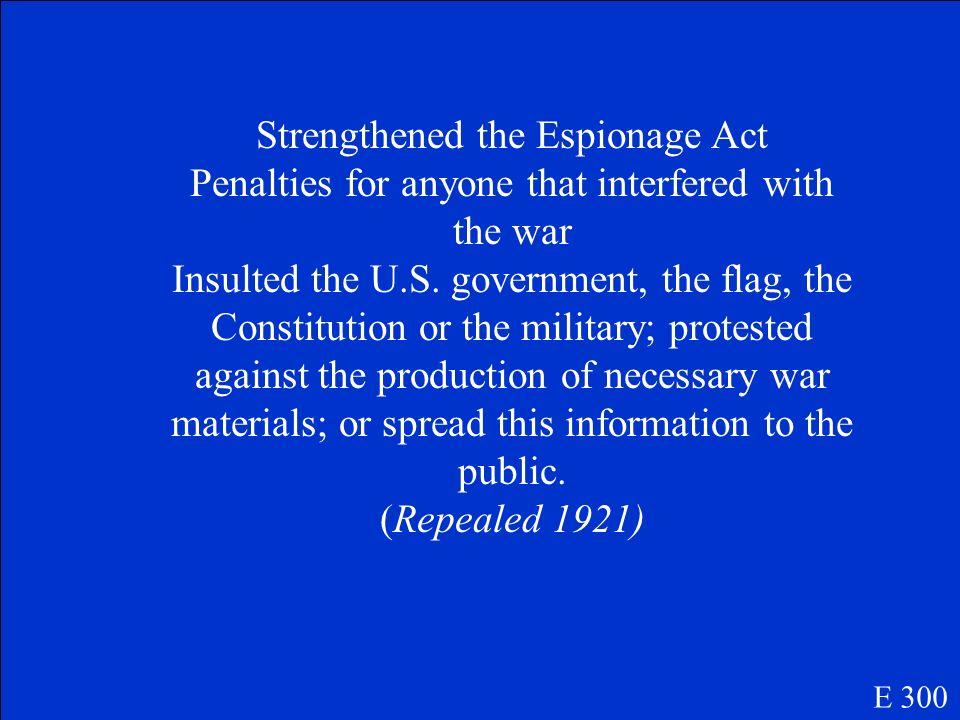 Sedition Act E 300