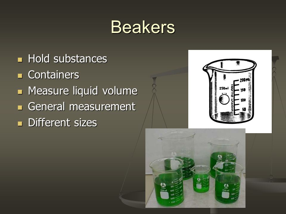 Beakers Hold substances Hold substances Containers Containers Measure liquid volume Measure liquid volume General measurement General measurement Diff