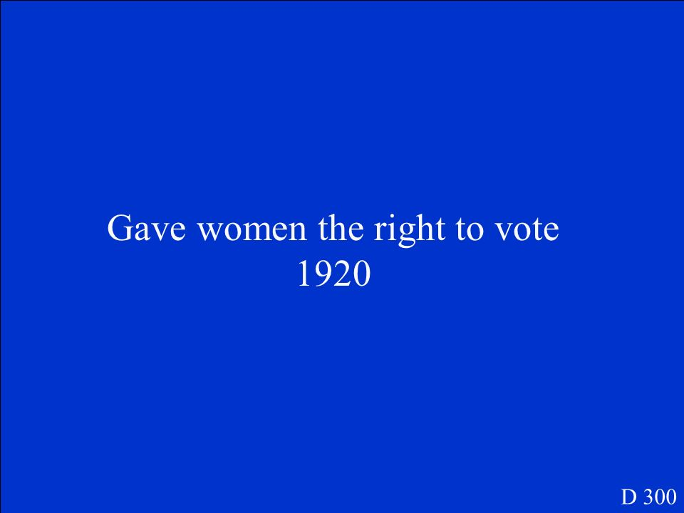What was the 19 th Amendment and when was it passed? D 300