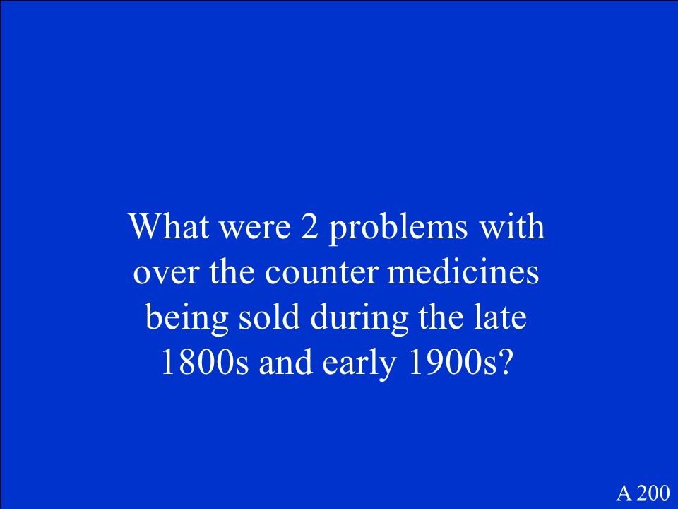 What were 2 problems with over the counter medicines being sold during the late 1800s and early 1900s.