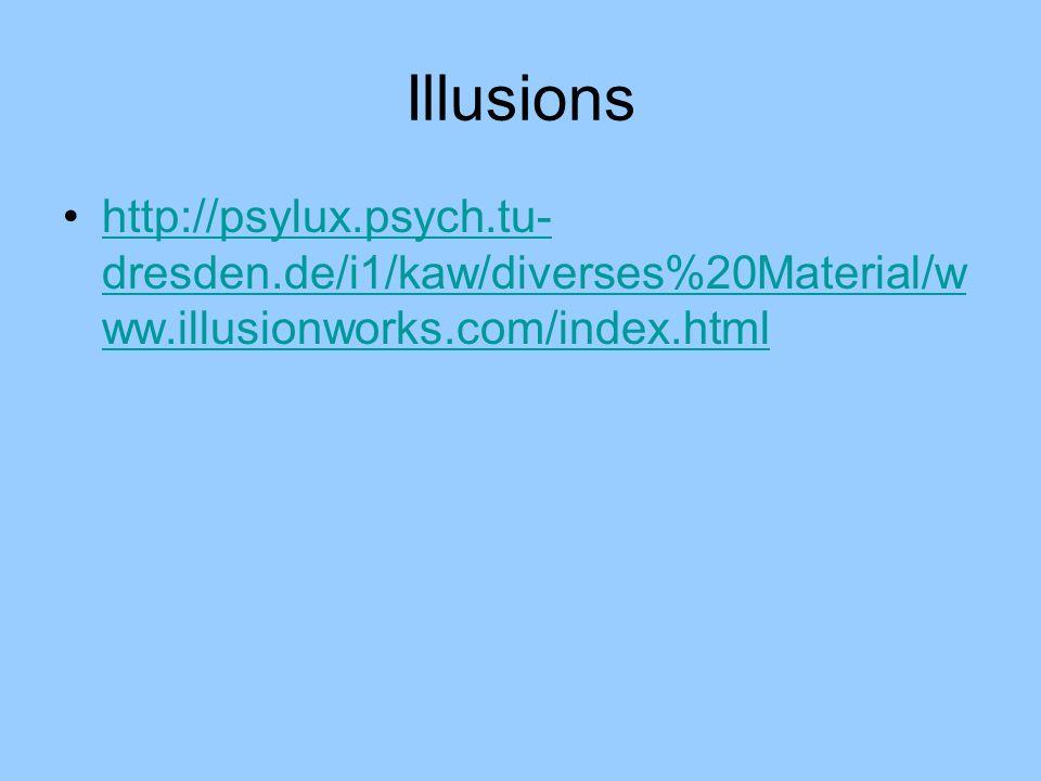 Illusions http://psylux.psych.tu- dresden.de/i1/kaw/diverses%20Material/w ww.illusionworks.com/index.htmlhttp://psylux.psych.tu- dresden.de/i1/kaw/div