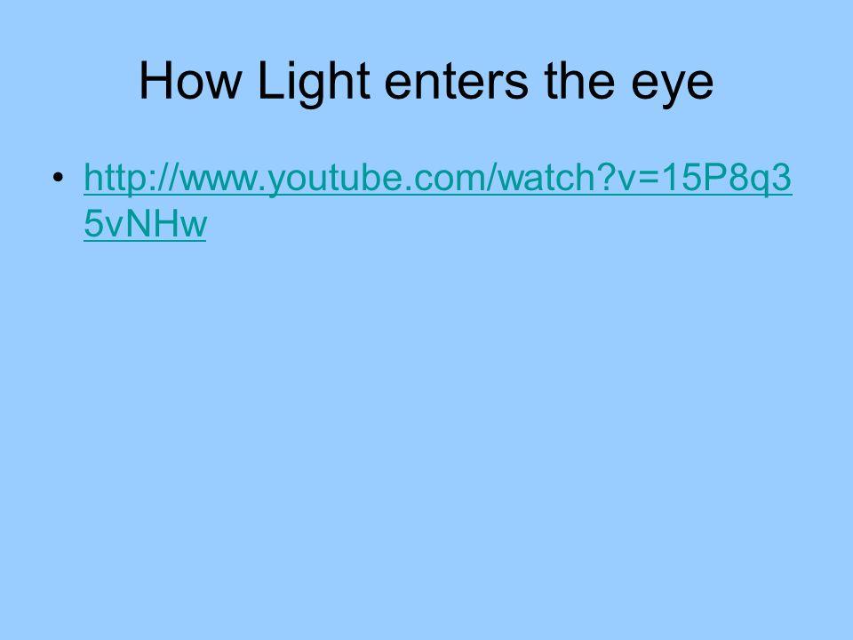 How Light enters the eye http://www.youtube.com/watch?v=15P8q3 5vNHwhttp://www.youtube.com/watch?v=15P8q3 5vNHw