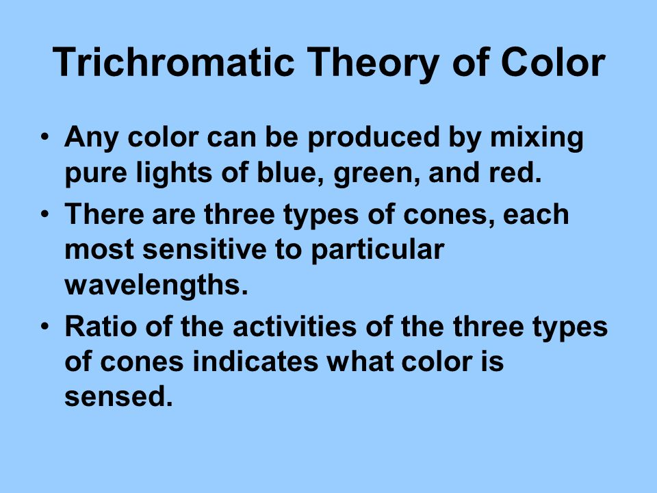Trichromatic Theory of Color Any color can be produced by mixing pure lights of blue, green, and red. There are three types of cones, each most sensit
