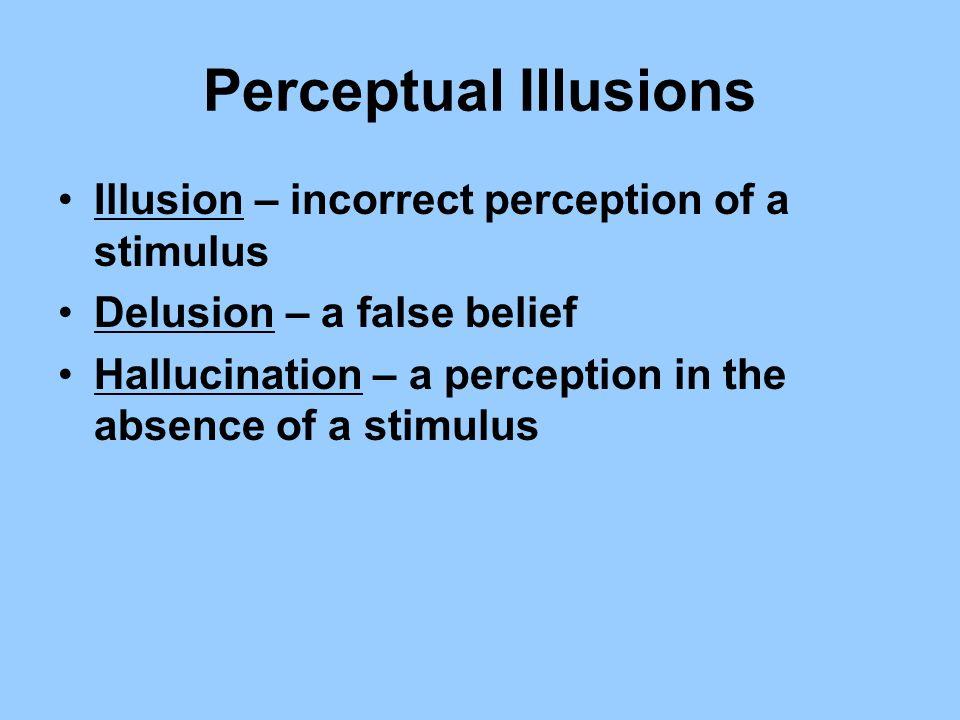 Perceptual Illusions Illusion – incorrect perception of a stimulus Delusion – a false belief Hallucination – a perception in the absence of a stimulus