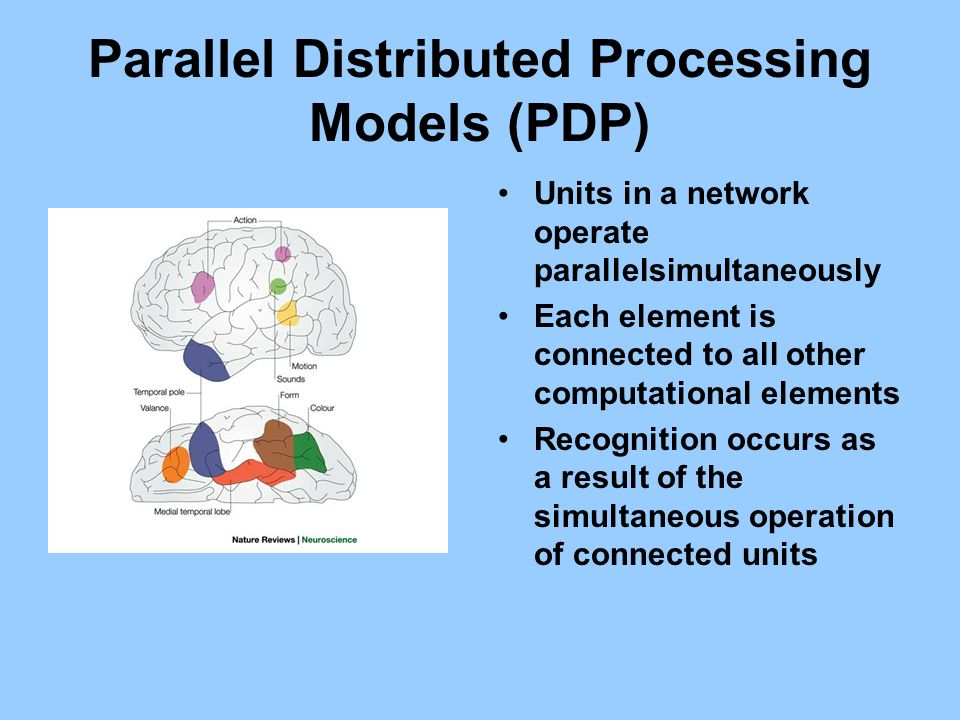 Parallel Distributed Processing Models (PDP) Units in a network operate parallelsimultaneously Each element is connected to all other computational el