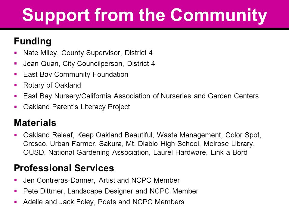 Support from the Community Funding Nate Miley, County Supervisor, District 4 Jean Quan, City Councilperson, District 4 East Bay Community Foundation Rotary of Oakland East Bay Nursery/California Association of Nurseries and Garden Centers Oakland Parents Literacy Project Materials Oakland Releaf, Keep Oakland Beautiful, Waste Management, Color Spot, Cresco, Urban Farmer, Sakura, Mt.