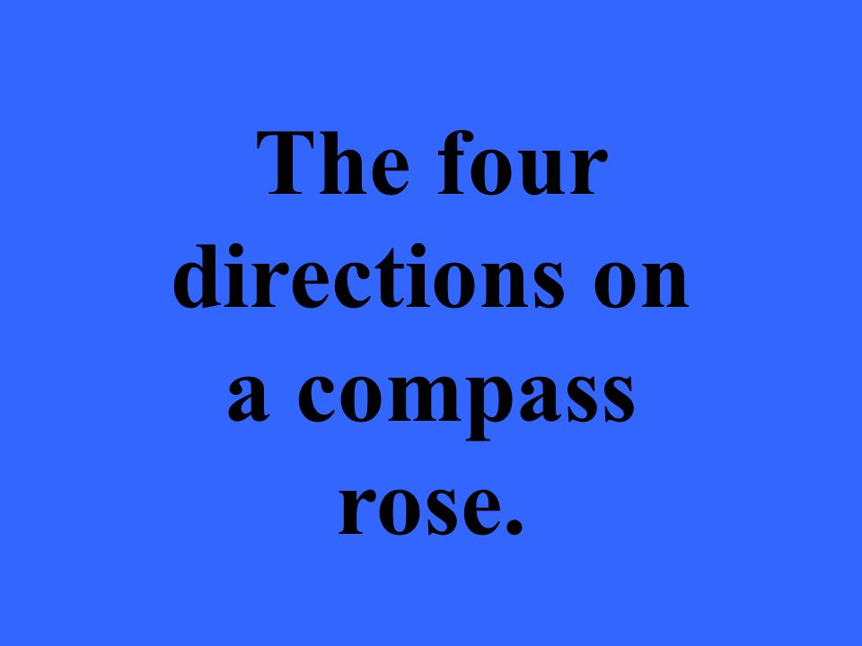 The four directions on a compass rose.