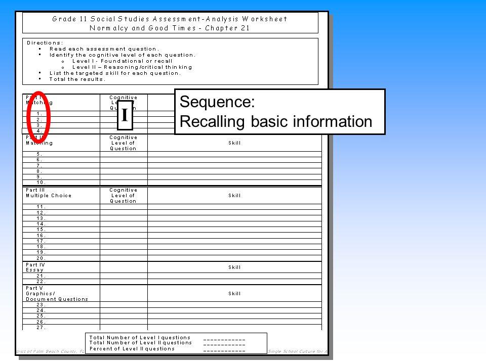 Sequence: Recalling basic information I