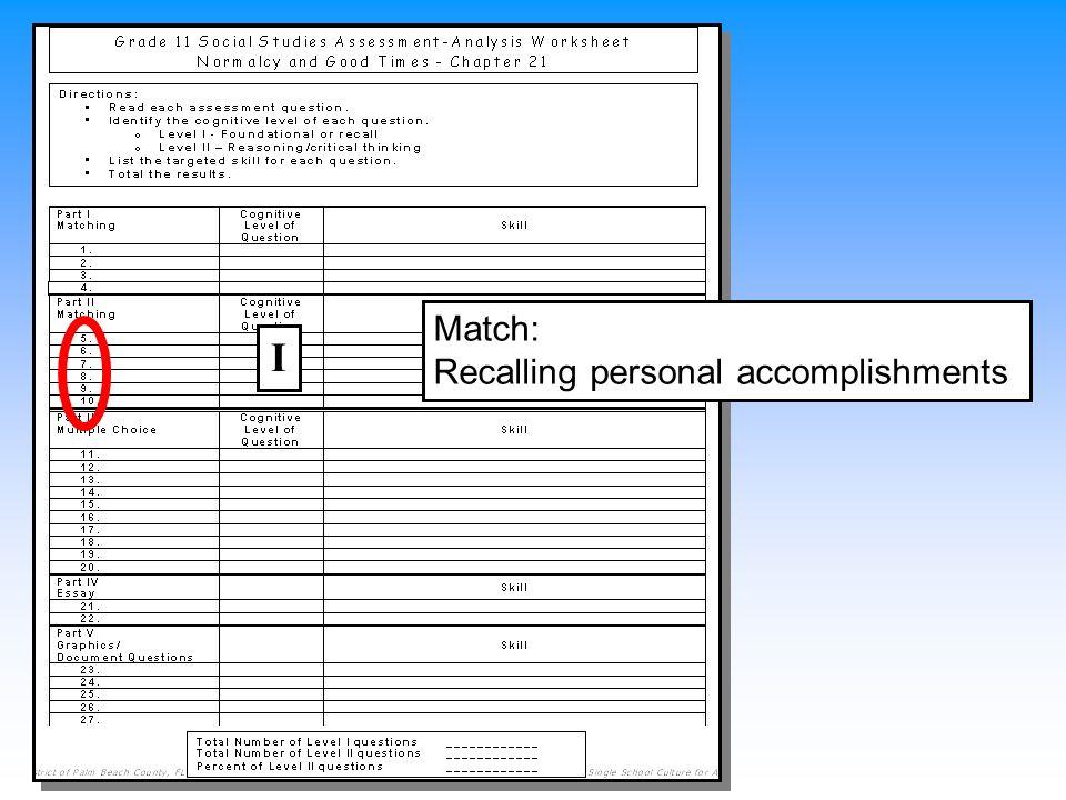 Match: Recalling personal accomplishments I