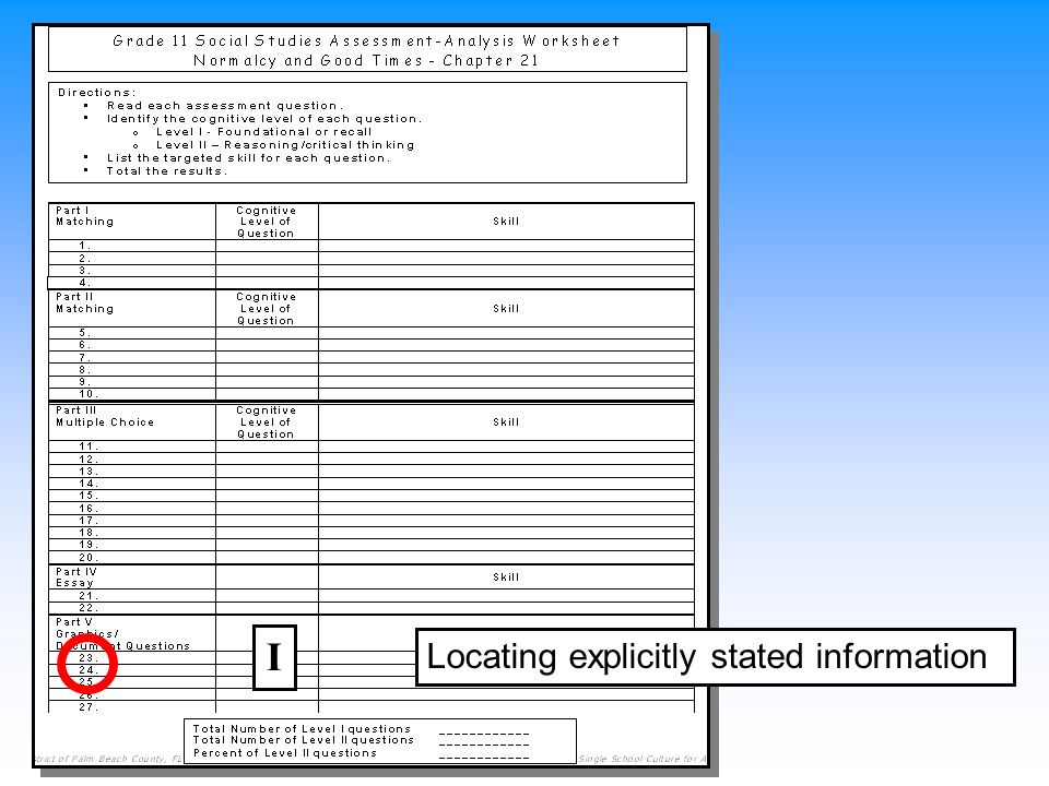 Locating explicitly stated information I