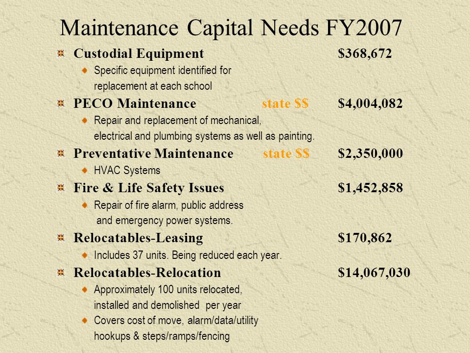 Maintenance Capital Needs FY2007 Custodial Equipment $368,672 Specific equipment identified for replacement at each school PECO Maintenance state $$$4