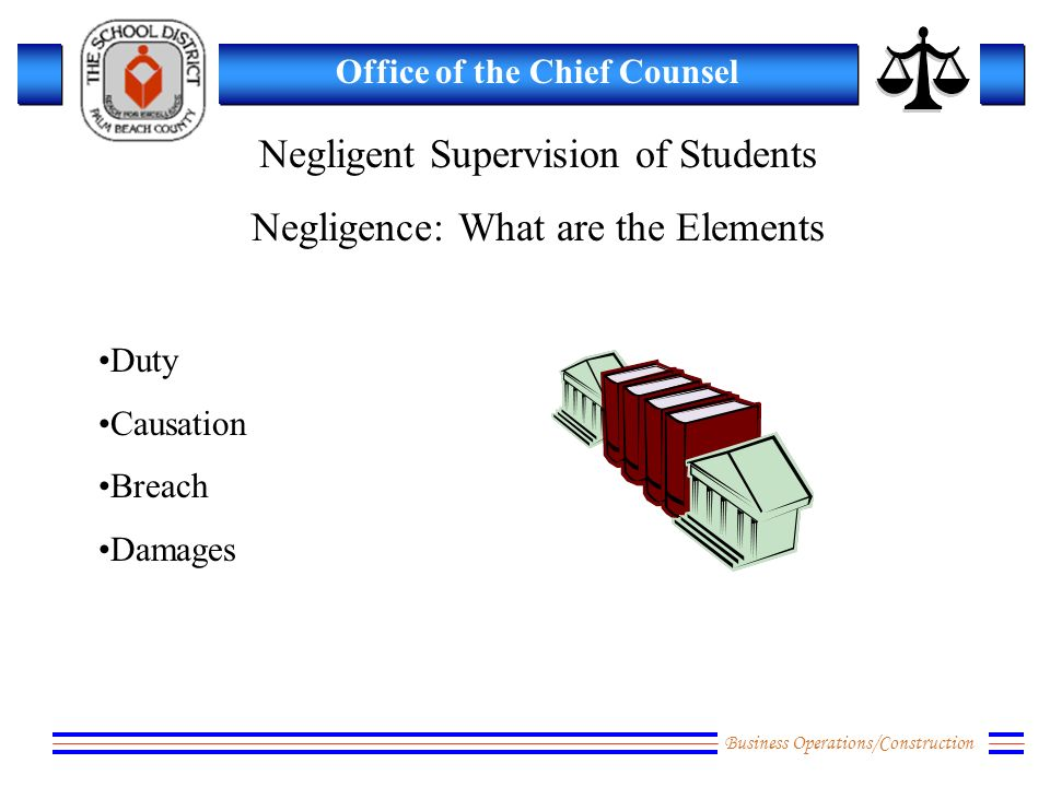 Business Operations/Construction Office of the Chief Counsel Negligent Supervision of Students Negligence: What are the Elements Duty Causation Breach Damages