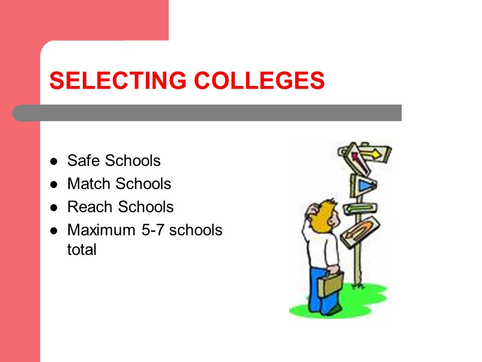 SELECTING COLLEGES Safe Schools Match Schools Reach Schools Maximum 5-7 schools total