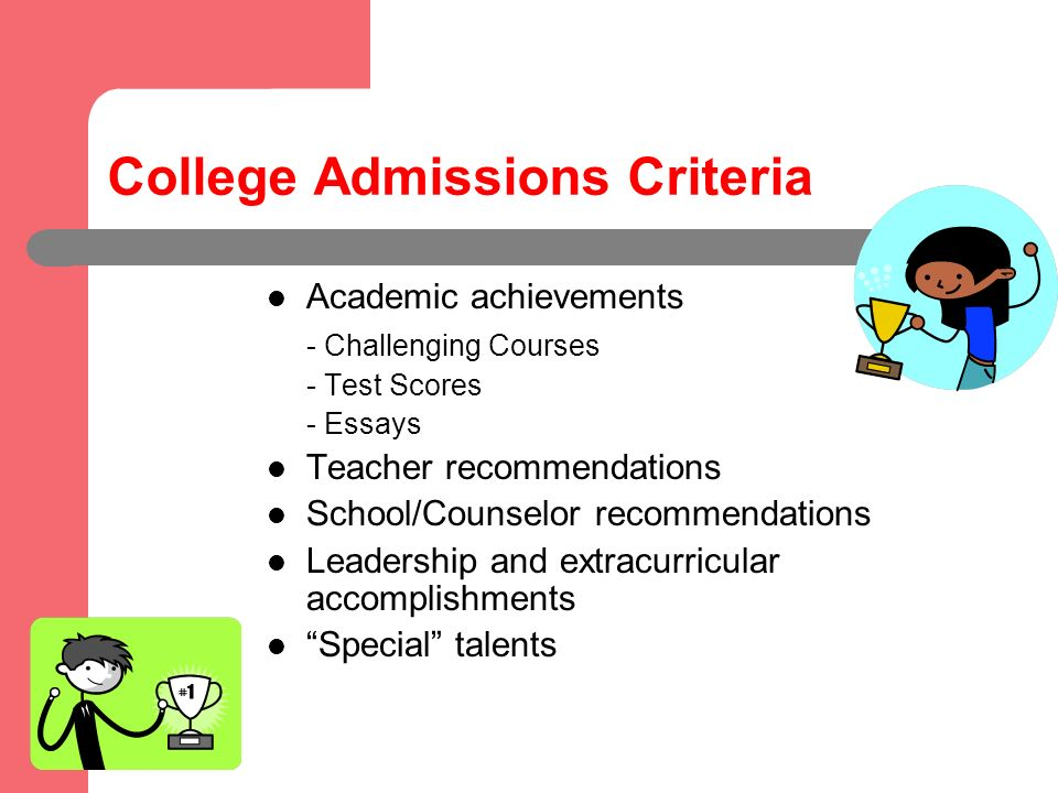 College Admissions Criteria Academic achievements - Challenging Courses - Test Scores - Essays Teacher recommendations School/Counselor recommendations Leadership and extracurricular accomplishments Special talents