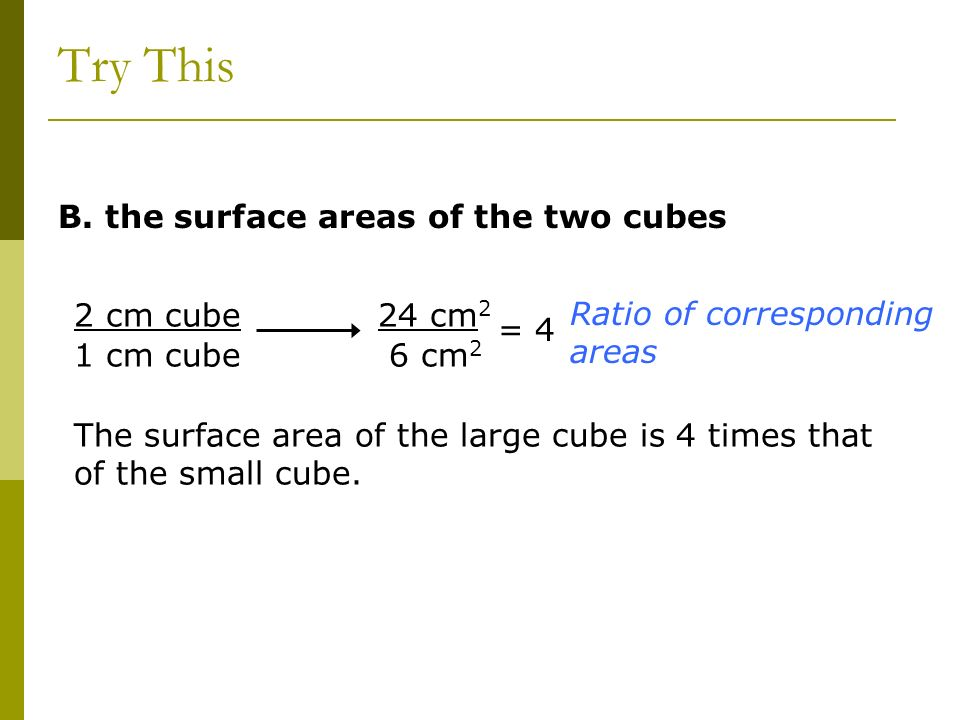 B. the surface areas of the two cubes 2 cm cube 1 cm cube 24 cm 2 6 cm 2 Ratio of corresponding areas The surface area of the large cube is 4 times th