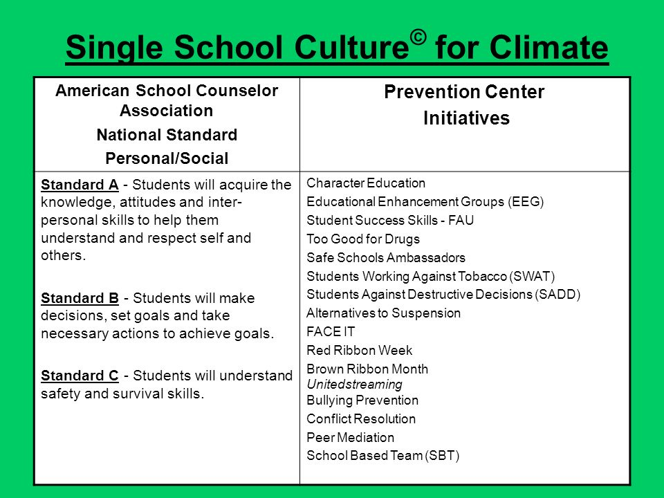Single School Culture © for Climate American School Counselor Association National Standard Personal/Social Prevention Center Initiatives Standard A - Students will acquire the knowledge, attitudes and inter- personal skills to help them understand and respect self and others.