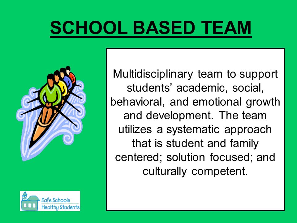 SCHOOL BASED TEAM Multidisciplinary team to support students academic, social, behavioral, and emotional growth and development.