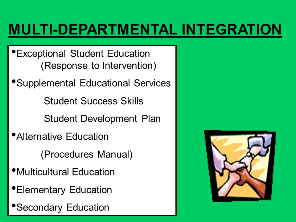 MULTI-DEPARTMENTAL INTEGRATION Exceptional Student Education (Response to Intervention) Supplemental Educational Services Student Success Skills Student Development Plan Alternative Education (Procedures Manual) Multicultural Education Elementary Education Secondary Education