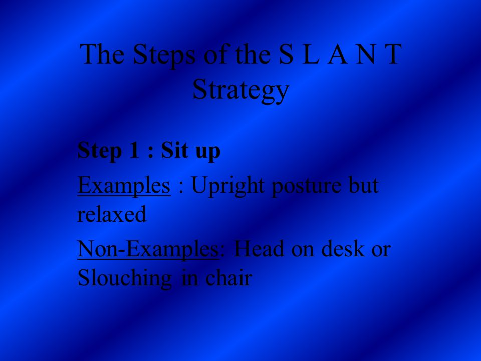 S = Sit up L = Lean forward A= Activate your thinking N =Name-key information T=Track the talker