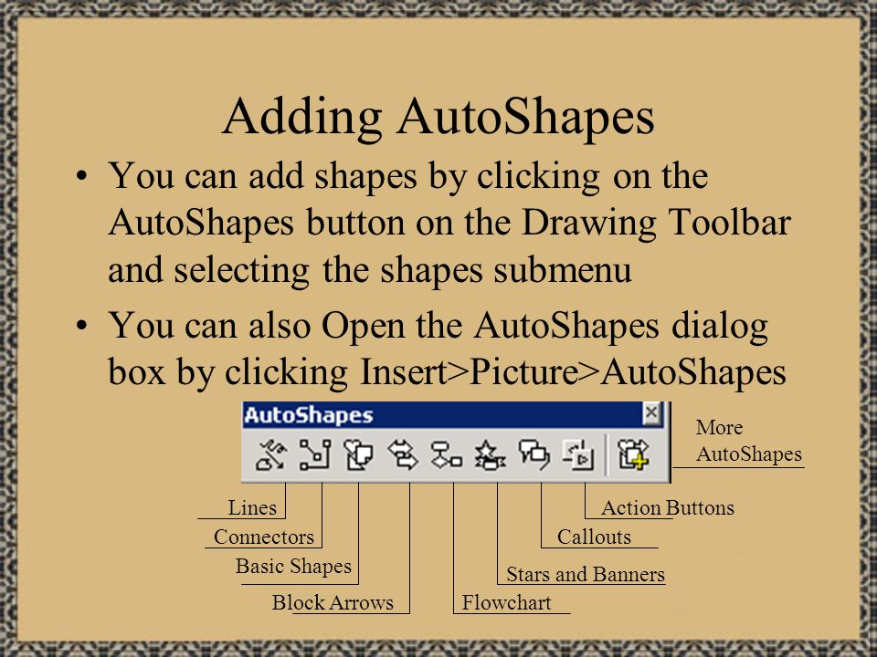 Creating A Customized Action Button First create or insert the button you wish to use (the button shown on the previous slide is included on the CD).