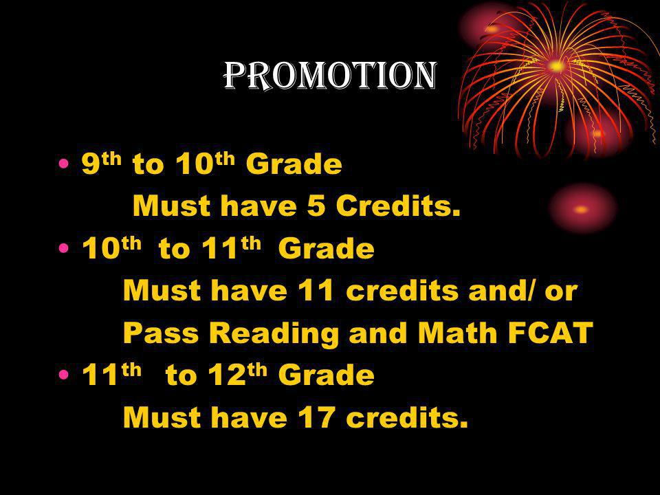 promotion 9 th to 10 th Grade Must have 5 Credits.