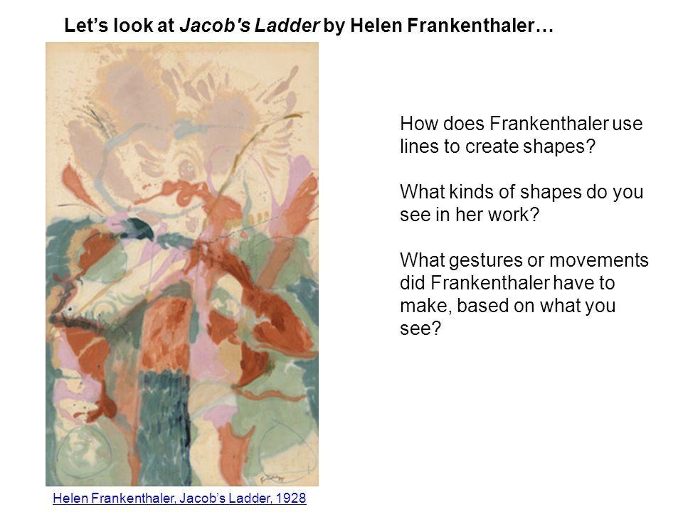How does Frankenthaler use lines to create shapes.
