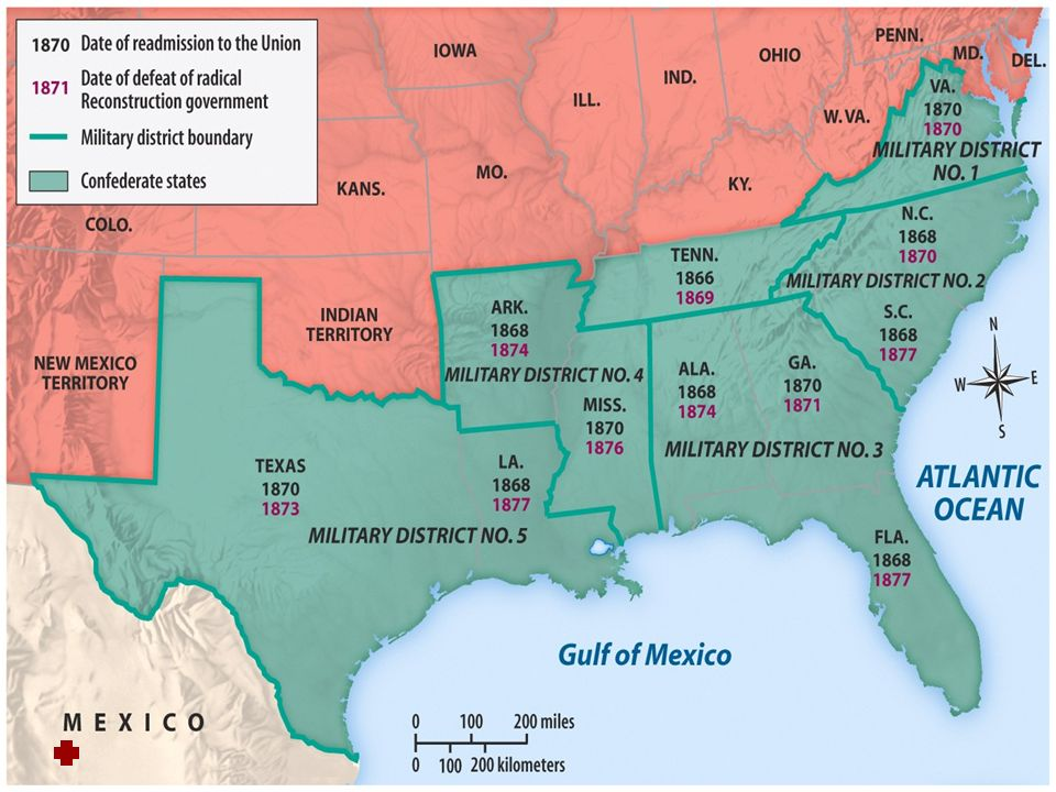 Congressional Acts Military Reconstruction Act 1867 – Wiped out Johnsons Plan and split the South into 5 military districts under control of Union military generals.