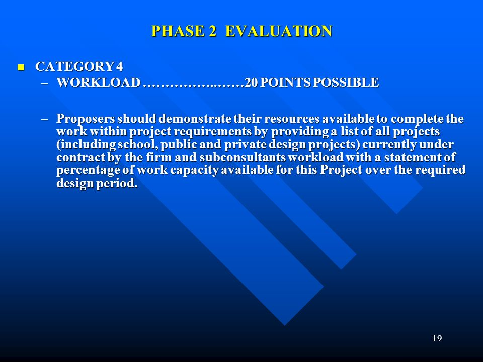 19 PHASE 2 EVALUATION CATEGORY 4 CATEGORY 4 –WORKLOAD ……………..……20 POINTS POSSIBLE –Proposers should demonstrate their resources available to complete