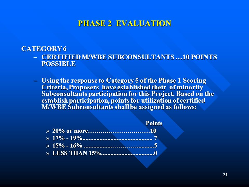 21 PHASE 2 EVALUATION CATEGORY 6 –CERTIFIED M/WBE SUBCONSULTANTS …10 POINTS POSSIBLE –Using the response to Category 5 of the Phase 1 Scoring Criteria, Proposers have established their of minority Subconsultants participation for this Project.