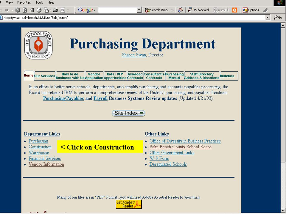 4 Purchasing Department < Click on Construction