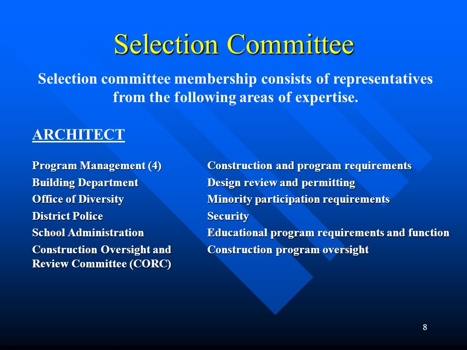 8 Selection Committee Selection committee membership consists of representatives from the following areas of expertise. ARCHITECT Program Management (