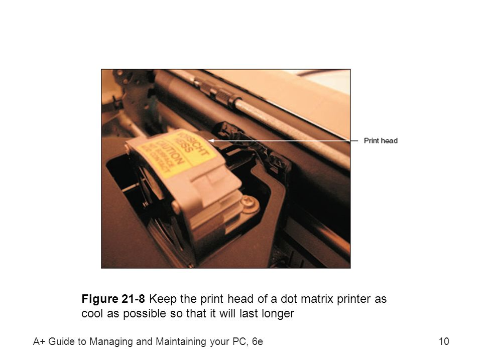 A+ Guide to Managing and Maintaining your PC, 6e10 Figure 21-8 Keep the print head of a dot matrix printer as cool as possible so that it will last lo