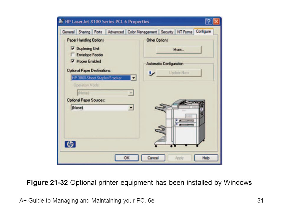 A+ Guide to Managing and Maintaining your PC, 6e31 Figure 21-32 Optional printer equipment has been installed by Windows