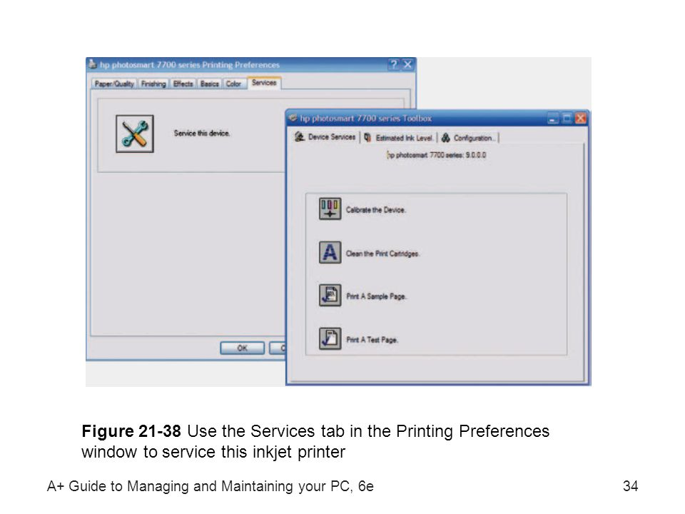 A+ Guide to Managing and Maintaining your PC, 6e34 Figure 21-38 Use the Services tab in the Printing Preferences window to service this inkjet printer