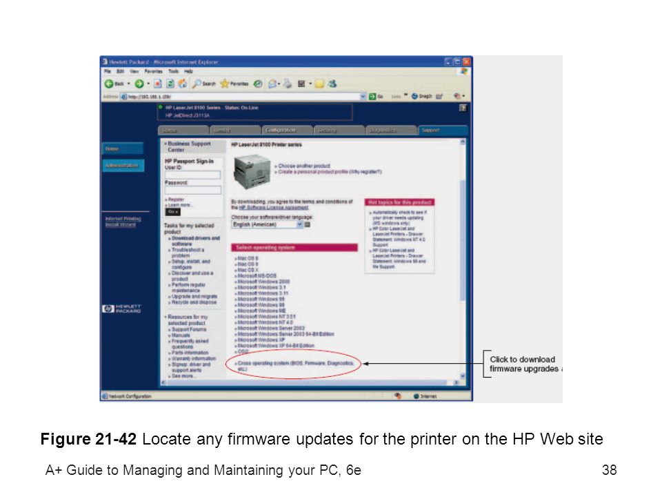 A+ Guide to Managing and Maintaining your PC, 6e38 Figure 21-42 Locate any firmware updates for the printer on the HP Web site