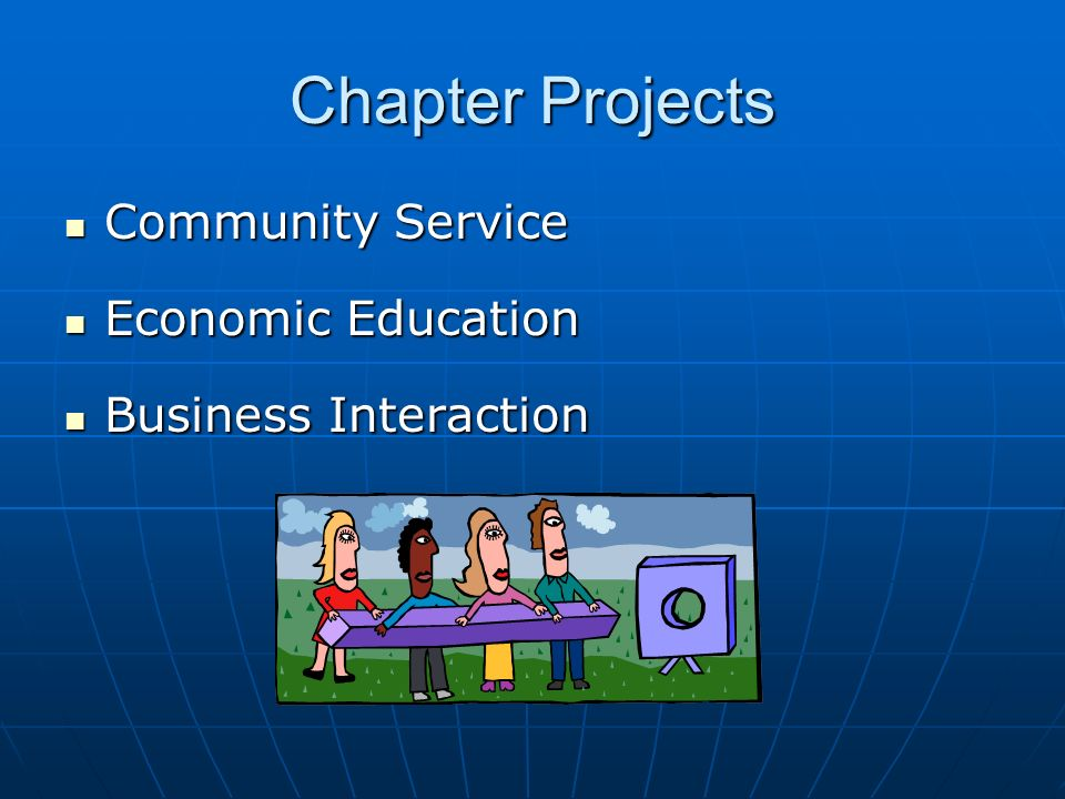 Chapter Projects Community Service Community Service Economic Education Economic Education Business Interaction Business Interaction