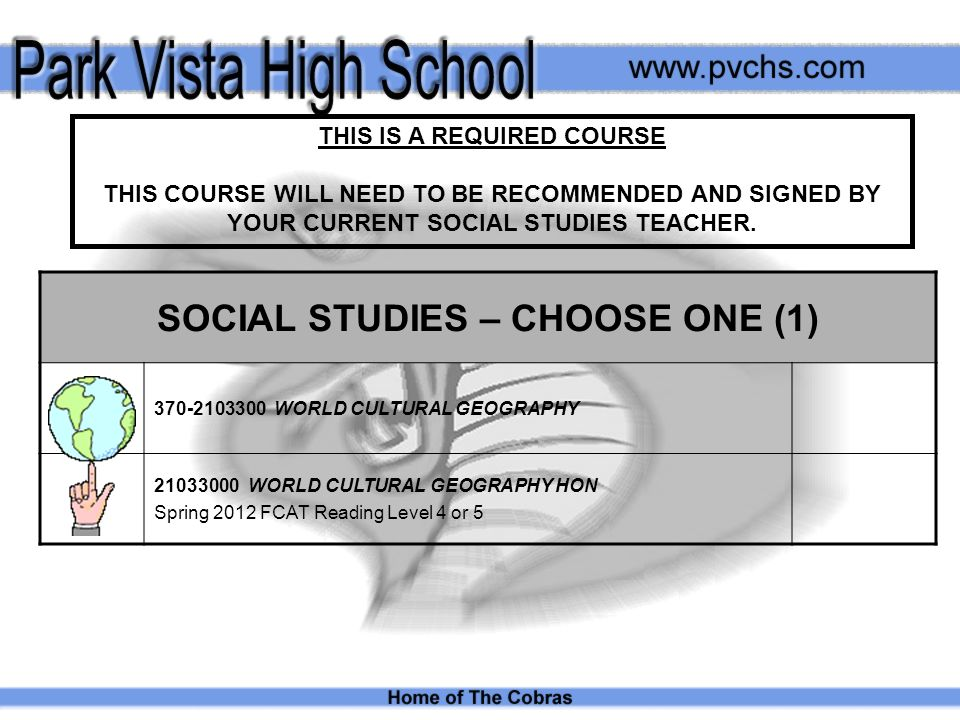 THIS IS A REQUIRED COURSE THIS COURSE WILL NEED TO BE RECOMMENDED AND SIGNED BY YOUR CURRENT SOCIAL STUDIES TEACHER.