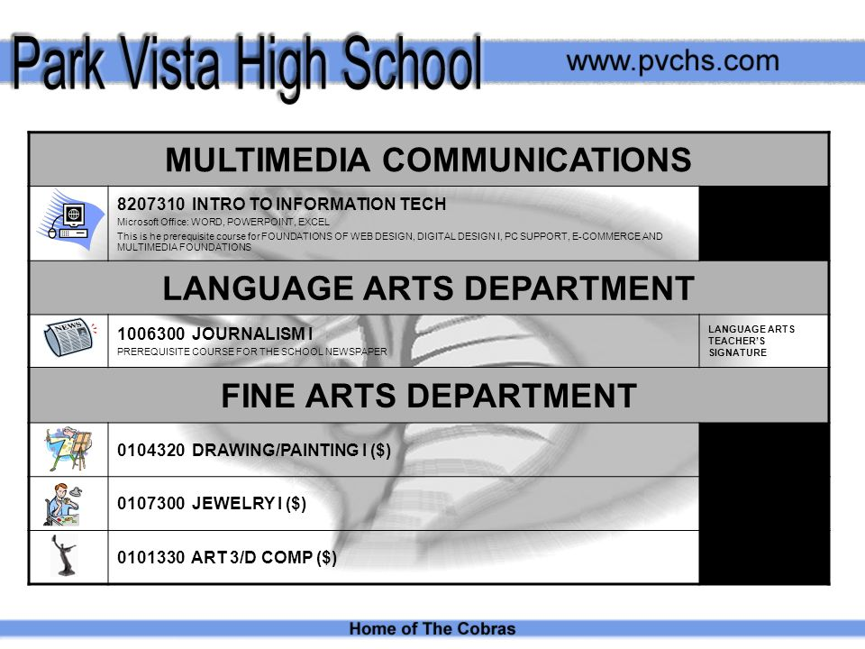 MULTIMEDIA COMMUNICATIONS INTRO TO INFORMATION TECH Microsoft Office: WORD, POWERPOINT, EXCEL This is he prerequisite course for FOUNDATIONS OF WEB DESIGN, DIGITAL DESIGN I, PC SUPPORT, E-COMMERCE AND MULTIMEDIA FOUNDATIONS LANGUAGE ARTS DEPARTMENT JOURNALISM I PREREQUISITE COURSE FOR THE SCHOOL NEWSPAPER LANGUAGE ARTS TEACHERS SIGNATURE FINE ARTS DEPARTMENT DRAWING/PAINTING I ($) JEWELRY I ($) ART 3/D COMP ($)