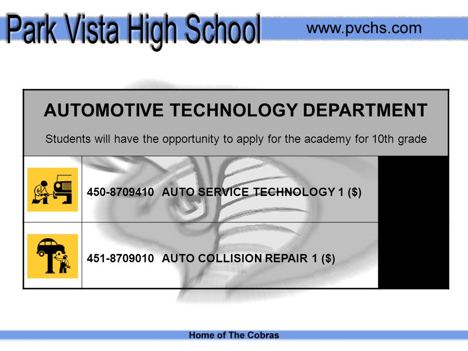 AUTOMOTIVE TECHNOLOGY DEPARTMENT Students will have the opportunity to apply for the academy for 10th grade AUTO SERVICE TECHNOLOGY 1 ($) AUTO COLLISION REPAIR 1 ($)