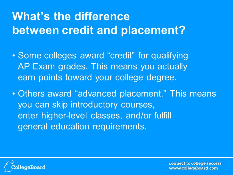 Whats the difference between credit and placement? Some colleges award credit for qualifying AP Exam grades. This means you actually earn points towar